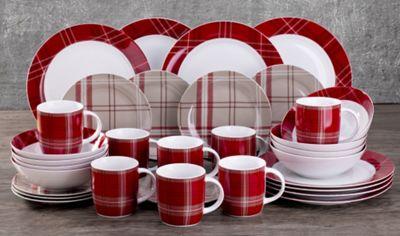 32 Piece Highland Red Tartan Dinner Set