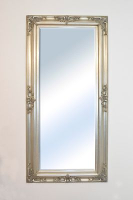 Large Silver Shabby Chic Ornate Big Wall Mirror Bargain 5Ft10x2ft10 178Cm X 87Cm