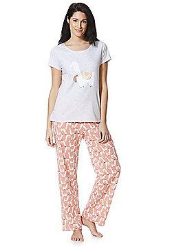 F&F Llama Pyjamas - Grey & Multi