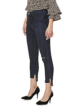 F&F Ripped Knee Step Hem Cropped Skinny Jeans - Dark wash