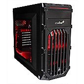 Cube Ryzen 5 Esport Red LED Gaming PC 16GB 1TB Hybrid WIFI RX 570 4GB Win 10
