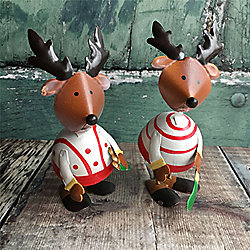 Set of Two Wobbly Reindeers with White Jumpers