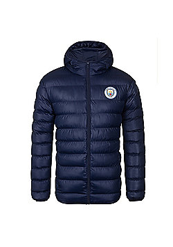 Manchester City FC Mens Quilted Jacket - Navy