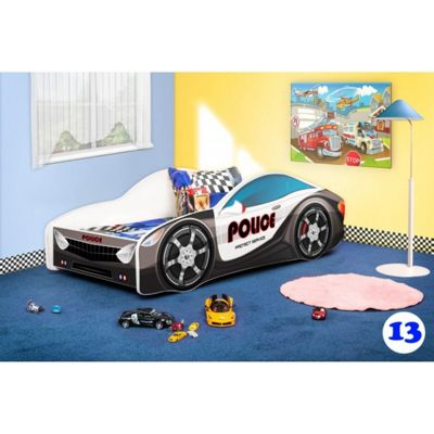 Toddler Car Bed and Mattress - Police (Medium)