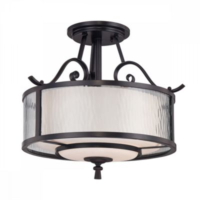 Dark Cherry Semi-Flush Light - 3 x 60W E27