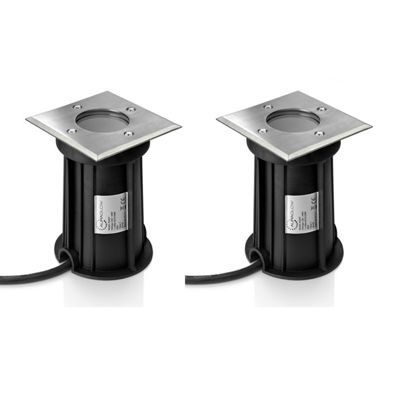 Auraglow Deep Recessed GU10 Holder Garden Ground Path Deck Light IP67 Driveway Outdoor Uplighter - Twin Pack