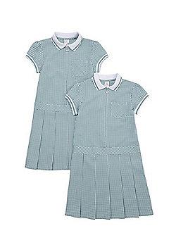 F&F School 2 Pack of Permanent Pleat Gingham Dresses - Green & White