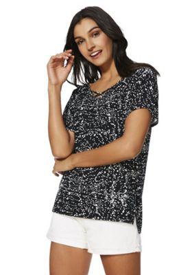 F&F Cross-Front Splatter Print Jersey Top Black/White 14