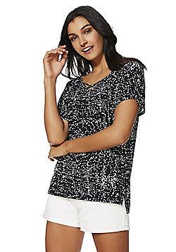 F&F Cross-Front Splatter Print Jersey Top - Black/White