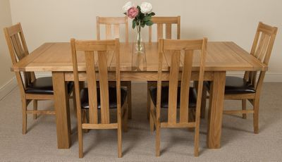 Seattle Extending Kitchen Solid Oak Dining Table and 6 Solid Oak Leather Chairs