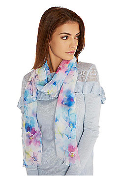 F&F Watercolour Print Frayed Hem Scarf - Multi