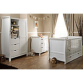 Obaby Stamford Cot Bed 4 Piece Sprung Mattress Nursery Room Set - White