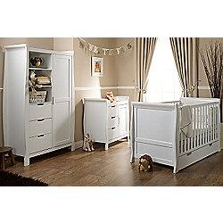 Obaby Stamford Cot Bed 4 Piece Sprung Mattress Nursery Room Set - White