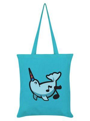 Unicorn Narwhal Tote Bag 38 x 42cm Azure Blue