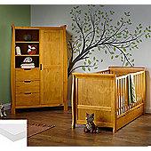 Obaby Stamford 2 Piece Cot Bed/Wardrobe + Sprung Mattress - Country Pine