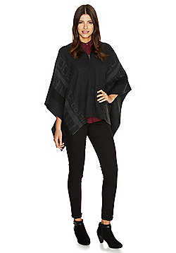 Pieces Square Pattern Cape - Charcoal