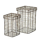 Parlane Set of 2 Wire Baskets With Lid - 25.5cm x 15cm