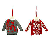 Pack of 2 Christmas Jumper Hanging Ornaments