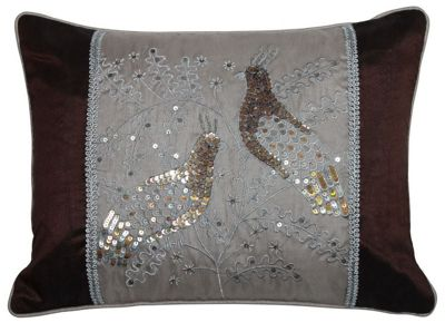 Taupe Sequin Bird Panel Cushion Lounge Bedroom Decor