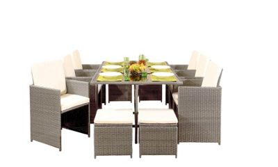 Comfy Living 10 Seater Rattan Outdoor Garden Furniture Set In Light Grey - 6 Chairs 4 Stools & Dining Table