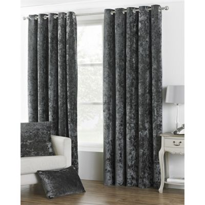 Riva Home Crushed Velvet Pewter Verona Eyelet Curtains - 46x54 Inches (117x137cm)
