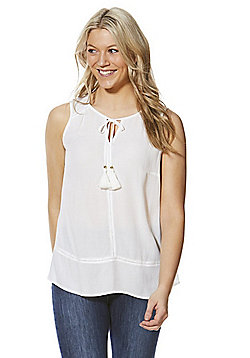 F&F Tassel Keyhole Sleeveless Top - White