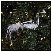 Weiste Glass Silver Bird Christmas Tree Decoration