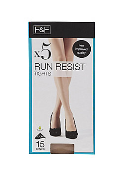 F&F 5 Pack of Run Resistant 15 Denier Tights - Natural