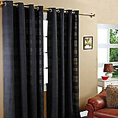 "Homescapes Cotton Rajput Ribbed Black Curtain Pair, 54 x 54"" Drop"