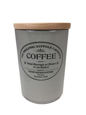 Henry Watson Original Suffolk Large Coffee Storage Jar Canister with Beech Lid in Dove Grey