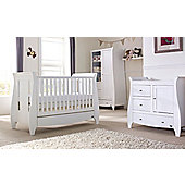 Tutti Bambini Lucas 3 Piece + Sprung Mattress Nursery Room Set White Finish
