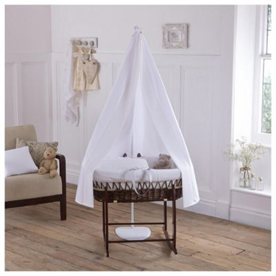 Clair de Lune 6-Piece White Waffle Moses Basket and Drape set, Dark