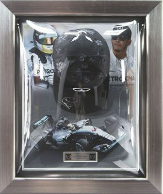 Signed Lewis Hamilton Mercedes F1 2015 Black Cap Display - World Champion