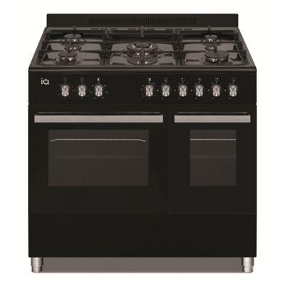electriQ 90cm Dual Fuel Double Oven Range Cooker Black
