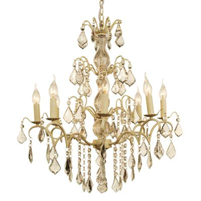 Charlotte Cream Crack Chandelier - 8 Arm with plastic candle