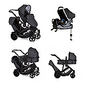 Hauck Duett 3 Tandem Stroller Melange Black with Car Seat and Isofix Base