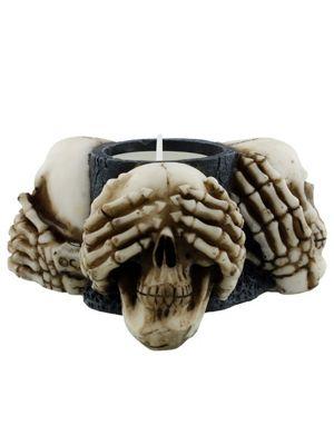 Three Wise Skulls Tealight Holder