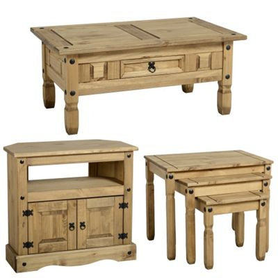 Corona Mexican Coffee Table, Nest Of 3 Tables And Corner TV Cabinet Stand  Set