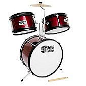 3 Piece Junior Drum Kit - Drum Set for Kids in Red