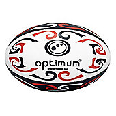 Optimum Tribal Rugby League Union Ball - White / Red - 4