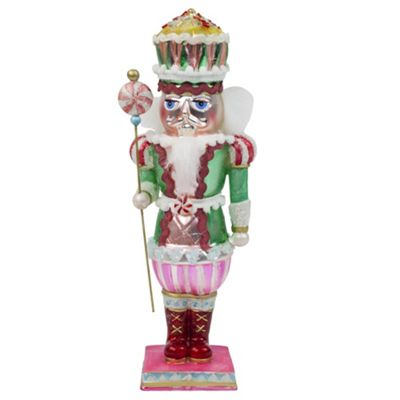 Large Pink Standing Glass Christmas Nutcracker Ornament