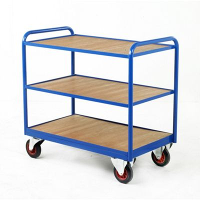 Industrial Two Tray Trolley with Timber Panel Trays