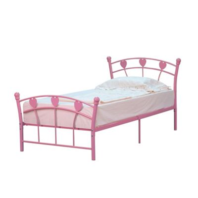 Comfy Living 3ft Single Love Heart Girl's Metal Bed Frame in Pink