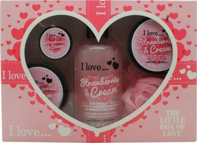 I Love... The Little Box of Love Strawberry and Cream Gift Set 250ml Bath & Shower Cremé + 50ml Body Butter + 50ml Sugar Scrub + 15ml Lip Balm