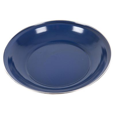 Summit Enamel Camping Plate With Stainless Steel Rim Blue