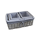 Set of 4 Blue Gingham Lined Willow Wicker Baskets