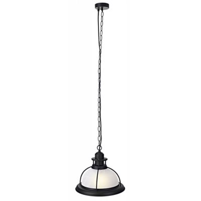 Industrial Pendant Light Fitting in Matt Black with Alabaster Glass