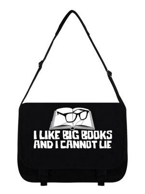 I Like Big Books Black Messenger Bag