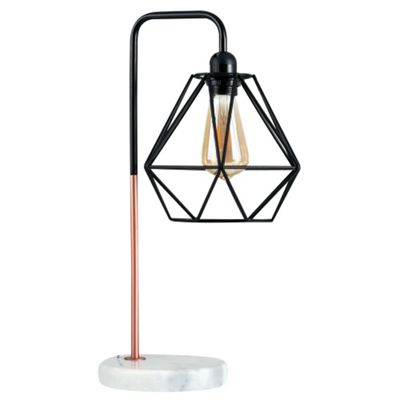 Talisman Industrial Style Table Lamp Black/Copper Finish Black Shade