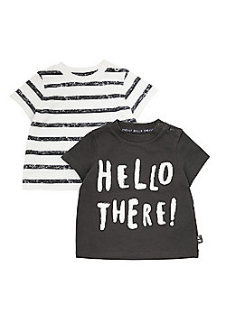 F&F 2 Pack of Hello There Slogan and Striped T-Shirts - Grey Multi